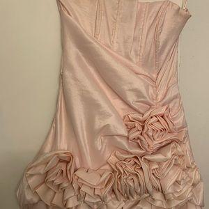 Beautiful baby pink floral mini prom dress